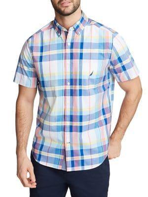 Nautica Plaid Short-sleeve Button Down Shirt
