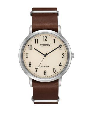 Citizen Eco-drive Stainless Steel Smooth Leather-strap Watch