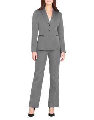 Tahari Arthur S. Levine Shawl Collar Herringbone Jacket And Pant Suit