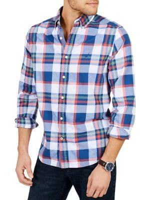 Nautica Classic Fit Casual Brushed Twill Plaid Shirt