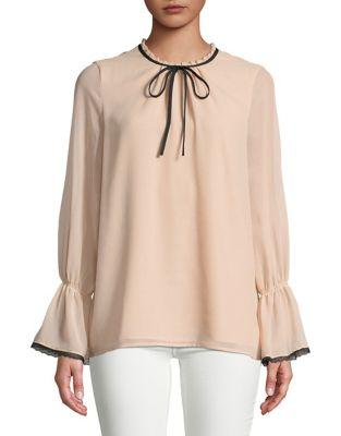 Karl Lagerfeld Paris Mockneck Bell-sleeve Top