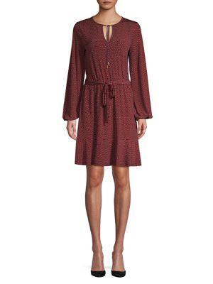 Michael Michael Kors Dotted Peplum Belted Dress