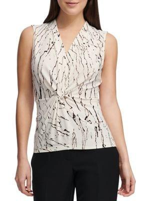 Donna Karan Printed V-neck Sleeveless Top