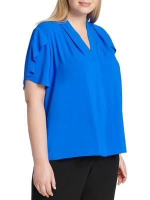 Calvin Klein Plus Plus V-neck Flutter-sleeve Top