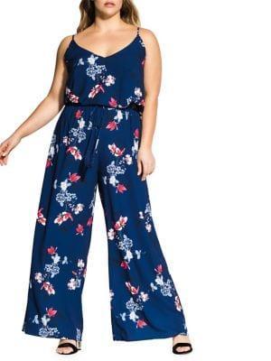 City Chic Plus Lotus Love Floral Jumpsuit
