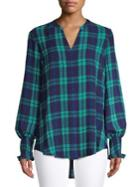 Lord & Taylor Georgie Plaid Smocked Sleeve Top
