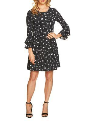 Cece Bell-sleeve Dotty Silhouettes Knit Dress