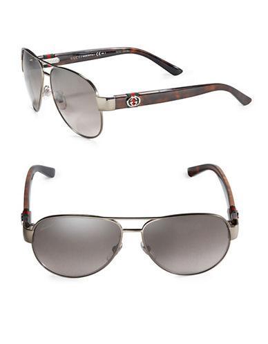 Gucci 58mm Metal Aviator Sunglasses
