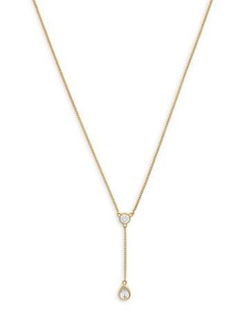 Cole Haan 1/25 Starry Skies Gold Tone Cubic Zirconia Brass Y Necklace
