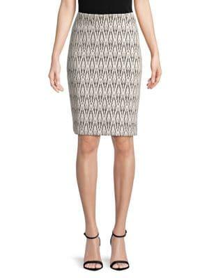 Nipon Boutique Geometric Woven Pencil Skirt