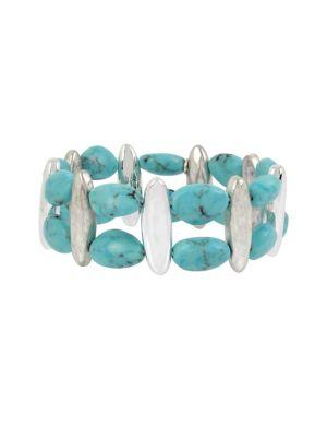 Lord Taylor Santa Fe Crystal And Turquoise Stretch Bracelet