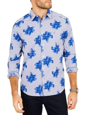 Nautica Classic-fit Stretch Cotton Floral Striped Shirt