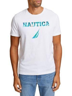 Nautica Floral-print Logo Cotton Tee