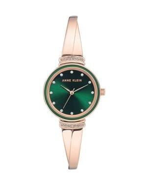 Anne Klein Rose Goldtone And Green Swarovski Crystal Bracelet Watch