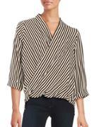 Glamorous Striped Surplice Top