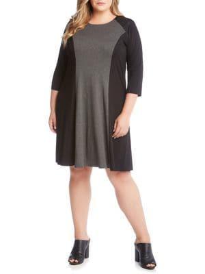 Karen Kane Plus Plus Plus Colorblock Two-toned Dress