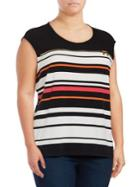 Calvin Klein Plus Roundneck Block Striped Top