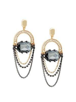 Black Diamond Goldtone Orbital Chain Loop Earrings
