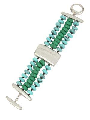 Lord Taylor Santa Fe Crystal, Blue And Green Turquoise Multi-row Bracelet