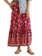 Mango Floral Flared Maxi Skirt