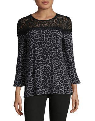 Michael Michael Kors Petite Cheetah Print Lace Top