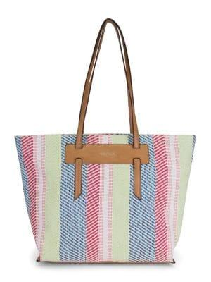 Nautica West Palm Striped Straw Tote