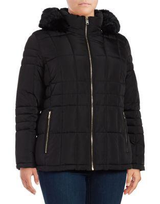 Calvin Klein Plus Faux Fur-trim Puffer Coat