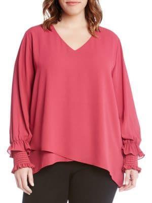 Karen Kane Plus Plus Plus Smocked-sleeve Crossover Top
