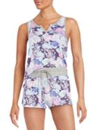 Splendid Floral Tank Top And Shorts Set