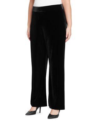 Tahari Arthur S. Levine Plus Wide-leg Velvet Pants