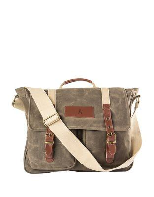 Cathy's Concepts Mens Waxed Canvas And Leather Messenger Bag