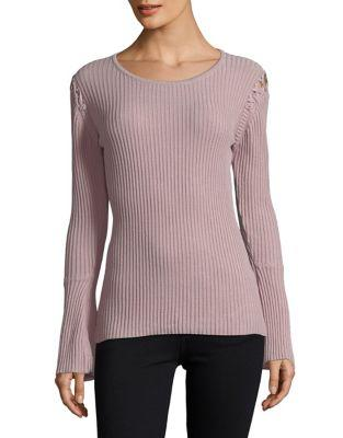 Ivanka Trump Lace-up Bell-sleeve Ribbed Top