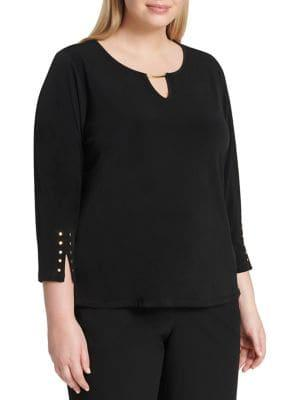 Calvin Klein Plus Embellished Quarter-sleeve Top