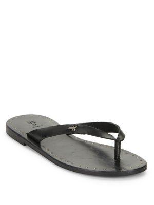 Frye Ally Logo Leather Flip Flops