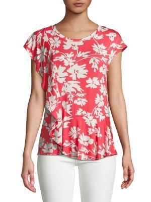 Ivanka Trump Ruffled Floral Print Top