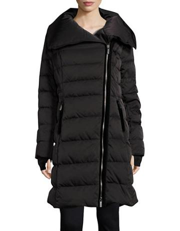 Vera Wang Asymmetrical Zip Puffer Down Coat