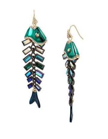 Betsey Johnson Glitter Reef Fish Linear Earrings
