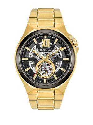 Bulova Round Yellow Goldtone Stainless Steel Bracelet Watch