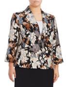 Nipon Boutique Plus Floral-print Notch Jacket