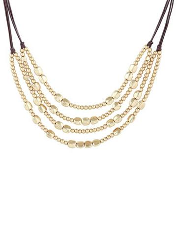 Lucky Brand Key Item Goldtone Beaded Collar Necklace