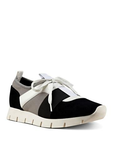 Nine West Well Done Colorblocked Seude And Leather-trimmed Sneakers