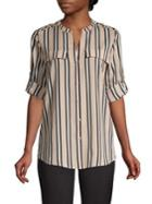 Calvin Klein Striped Splitneck Utility Blouse