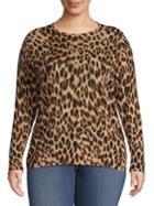 Lord & Taylor Plus Leopard Merino Wool Sweater