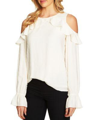 Cece Ruffled Cold-shoulder Long-sleeve Textured Blouse