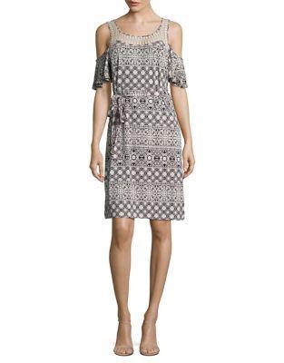 Ivanka Trump Cold Shoulder Print Dress