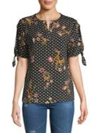 Ivanka Trump Printed Splitneck Blouse