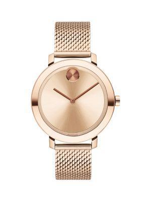 Movado Bold Rose Goldtone Stainless Steel Mesh Bracelet Watch