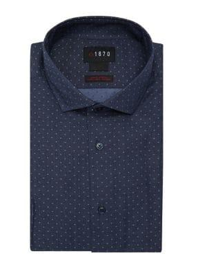 Lord Taylor Textured Dotted Chambray Shirt