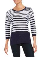 Two By Vince Camuto Striped Roundneck Pullover