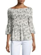 Ivanka Trump Off-the-shoulder Floral Blouse